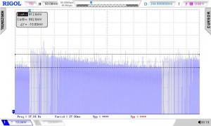 Frequency response of TY-311P transformer being swept from 300Hz to 3.5kHz in 500ms at 1.9Vpp