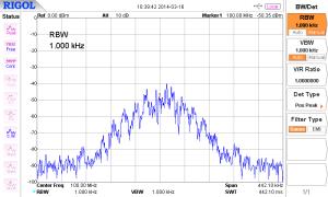 Transmitter output 100MHz with 2.7kHz FM modulation