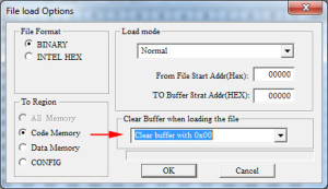 MiniPro file load options