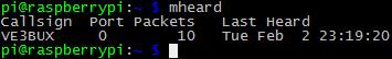 mheard test output
