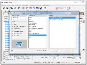 MiniPRO programmer settings