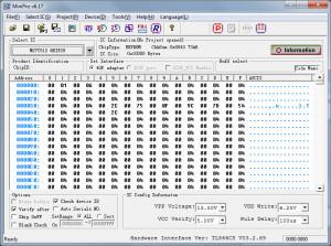 MiniPro data screen for M27C513 PROM