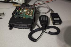 Basic test setup with radio and a Bird 300W 50Ω dummy load.